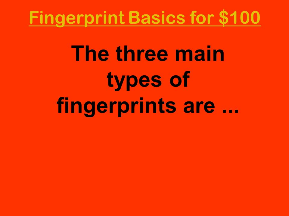 The three main types of fingerprints are ...