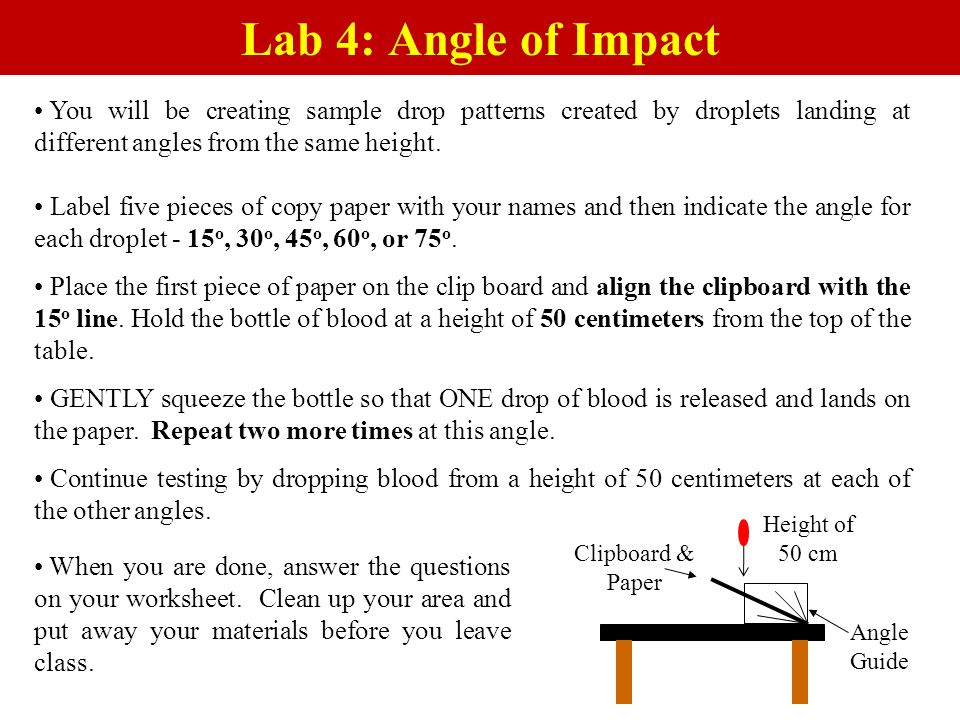 Lab 4: Angle of Impact You will be creating sample drop patterns created by droplets landing at different angles from the same height.