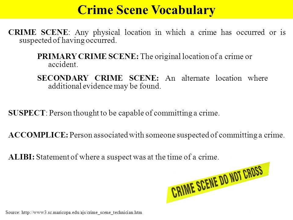 Crime Scene Vocabulary