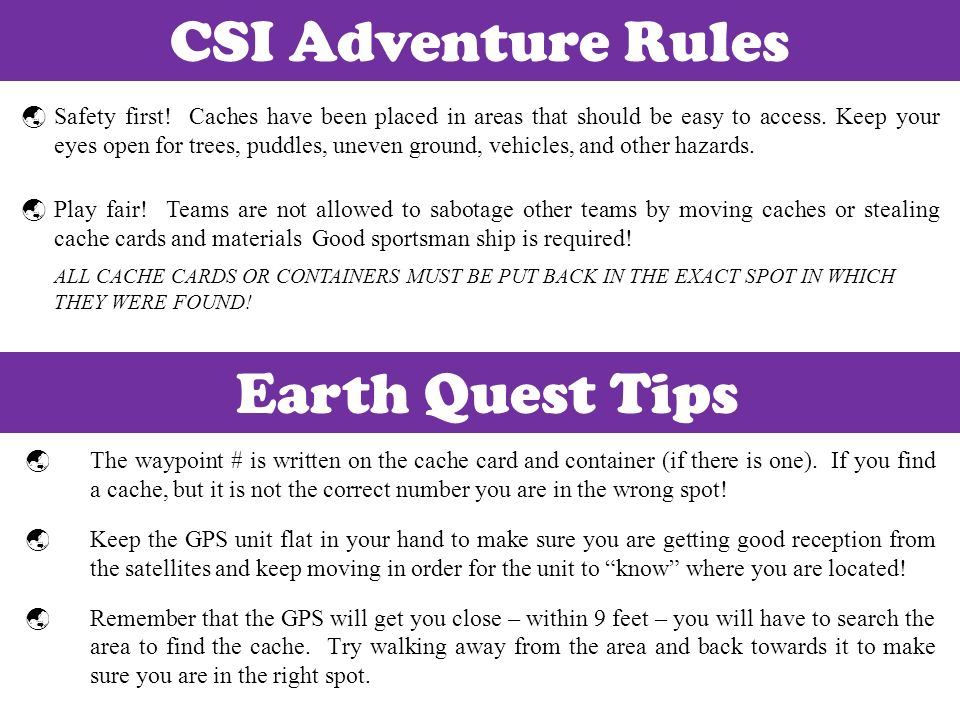 CSI Adventure Rules Earth Quest Tips