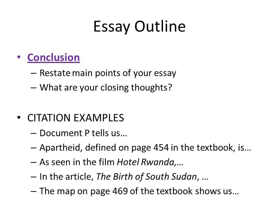good morning please take out a sheet of paper and answer the  10 essay outline conclusion citation examples