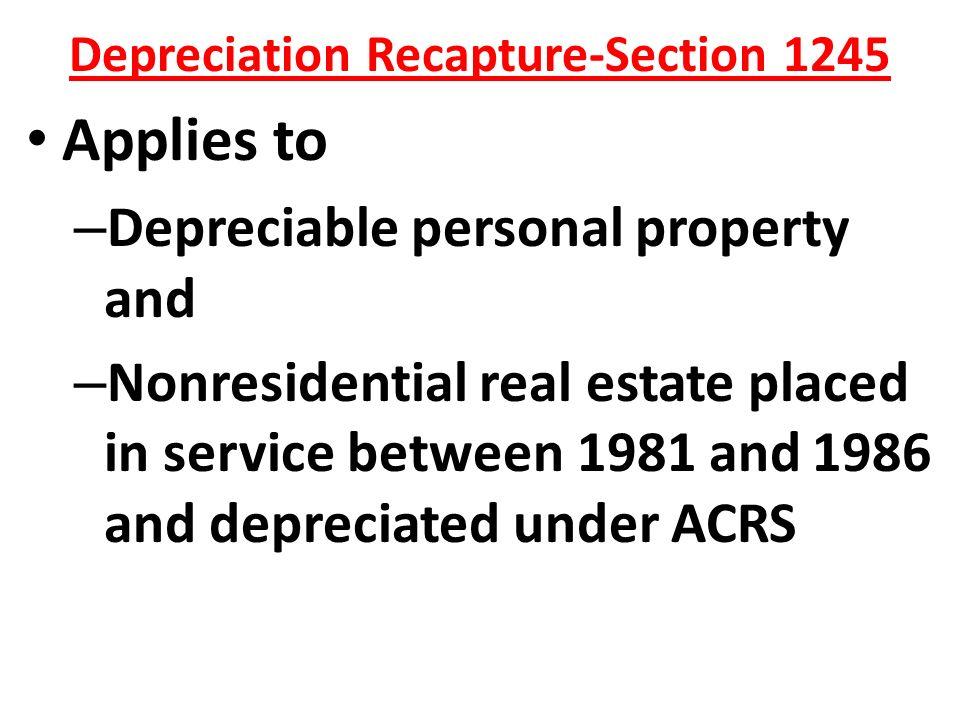 Depreciation Recapture Of Personal Property