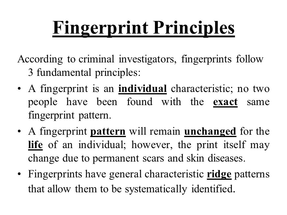 Fingerprint Principles