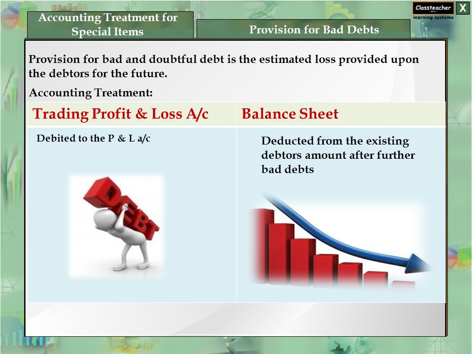 Accounting Treatment for Special Items Provision for Bad Debts