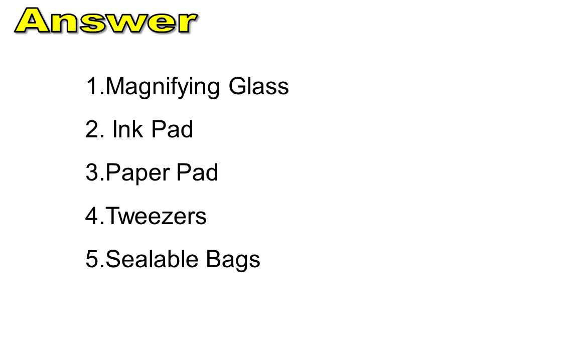 Answer Magnifying Glass Ink Pad Paper Pad Tweezers Sealable Bags