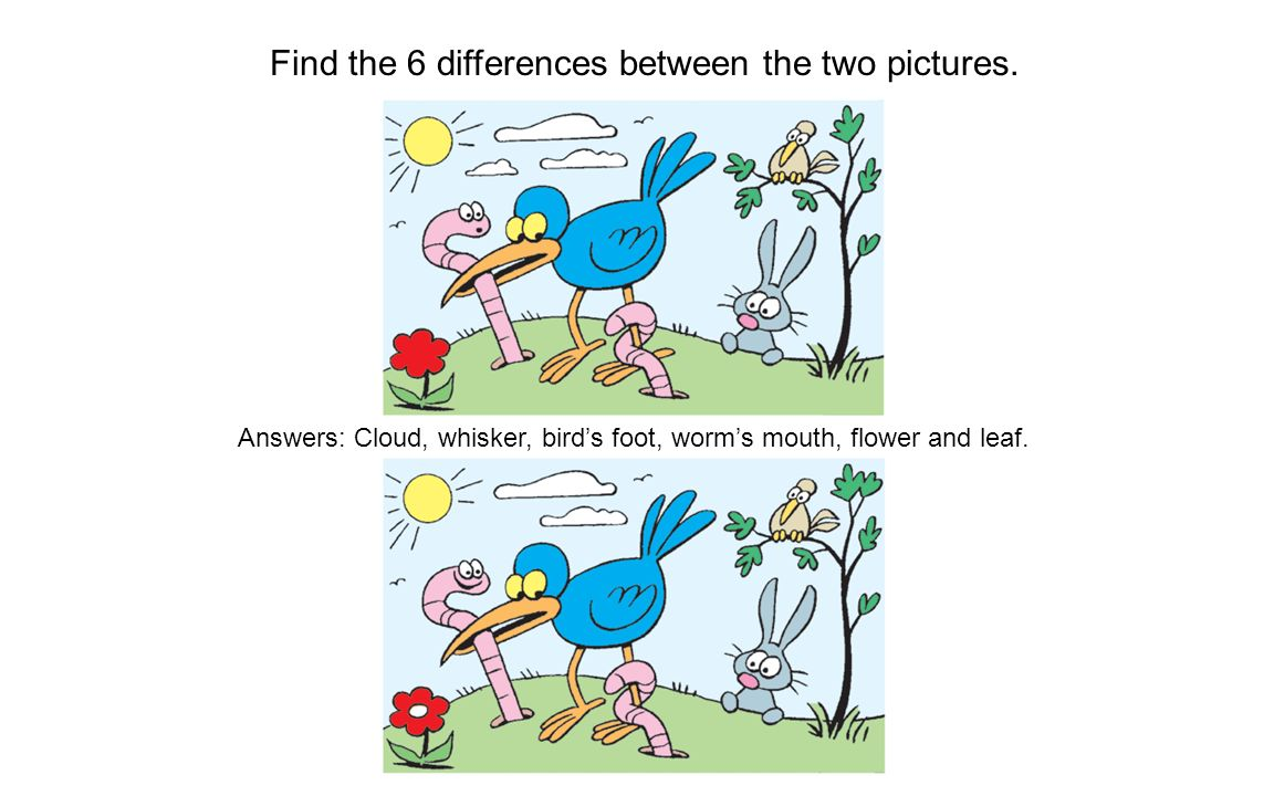 Find the 6 differences between the two pictures.