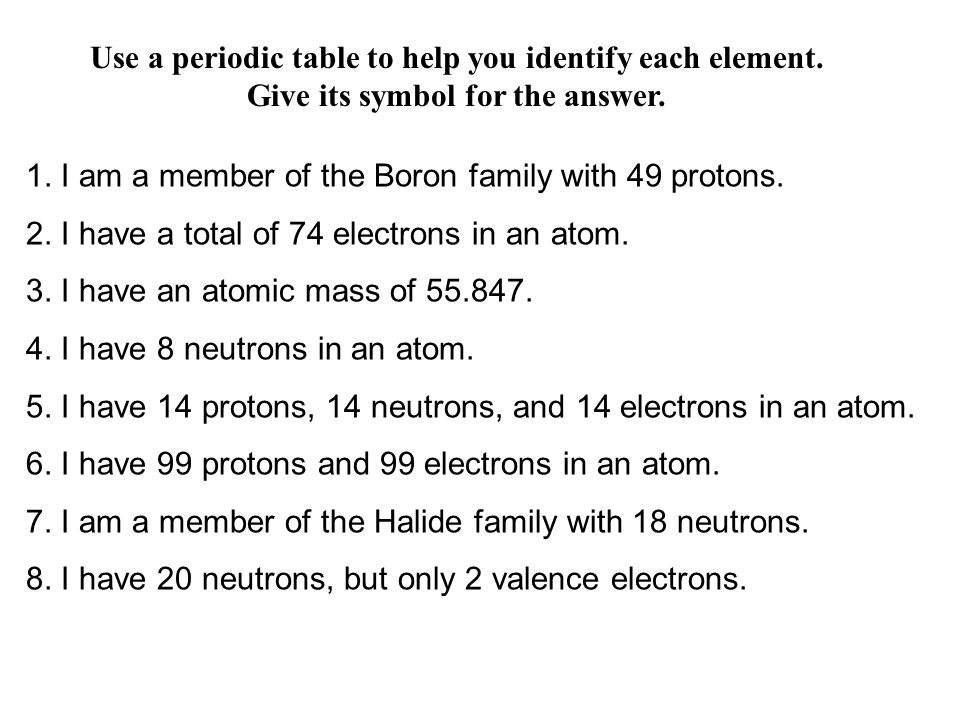 Use a periodic table to help you identify each element