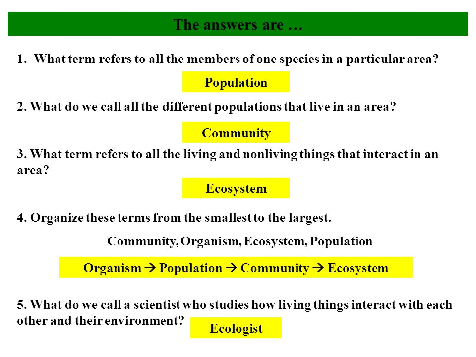 The answers are … 1. What term refers to all the members of one species in a particular area