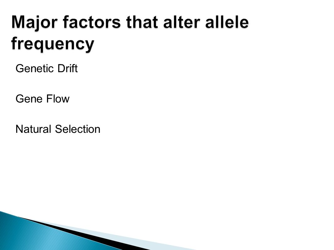 Major factors that alter allele frequency