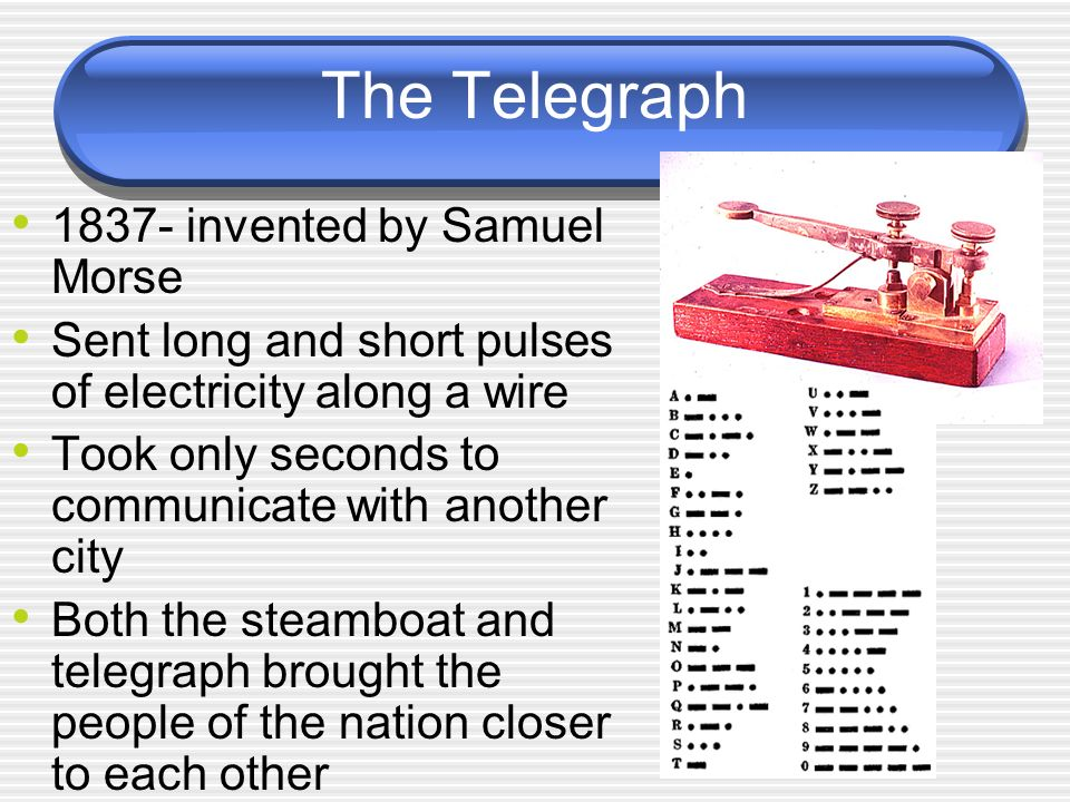 The Telegraph invented by Samuel Morse