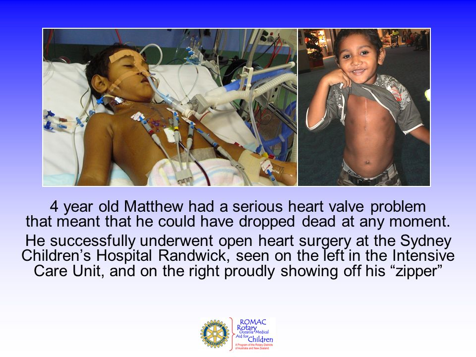 4 year old Matthew had a serious heart valve problem that meant that he could have dropped dead at any moment.