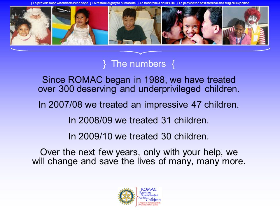 In 2007/08 we treated an impressive 47 children.