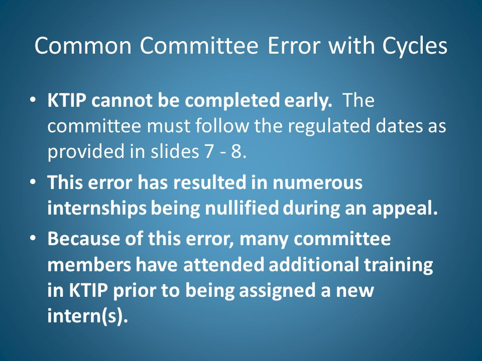 Common Committee Error with Cycles