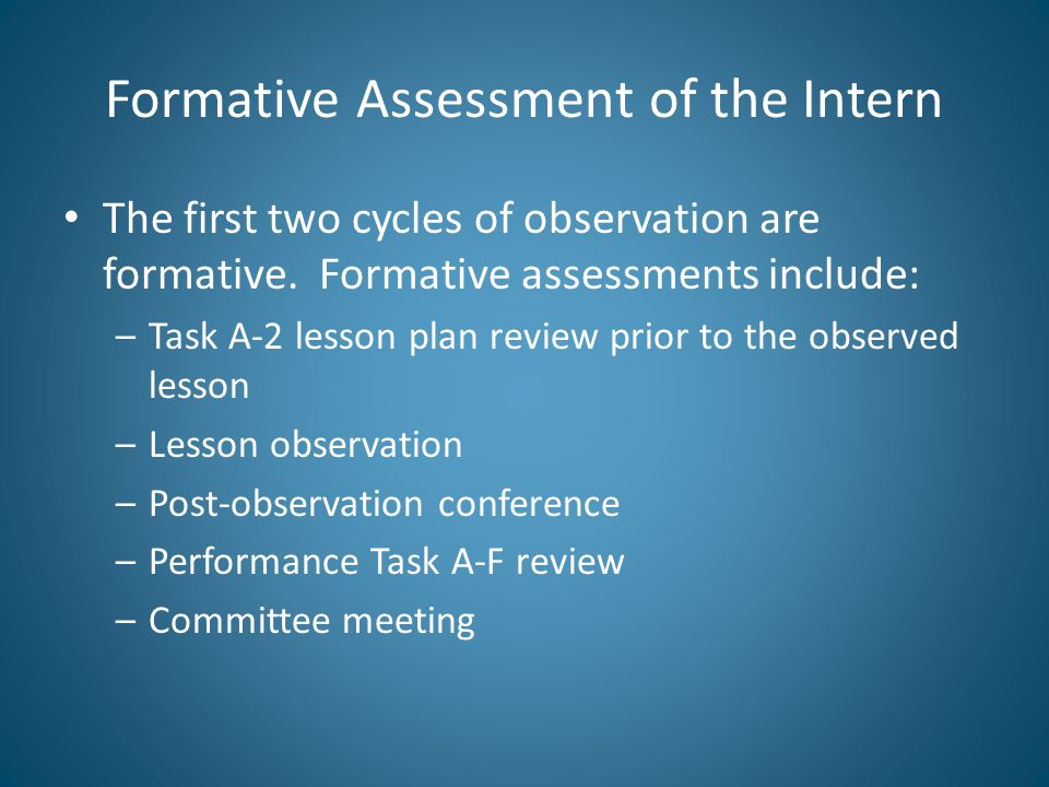 Formative Assessment of the Intern