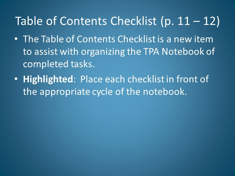 Table of Contents Checklist (p. 11 – 12)