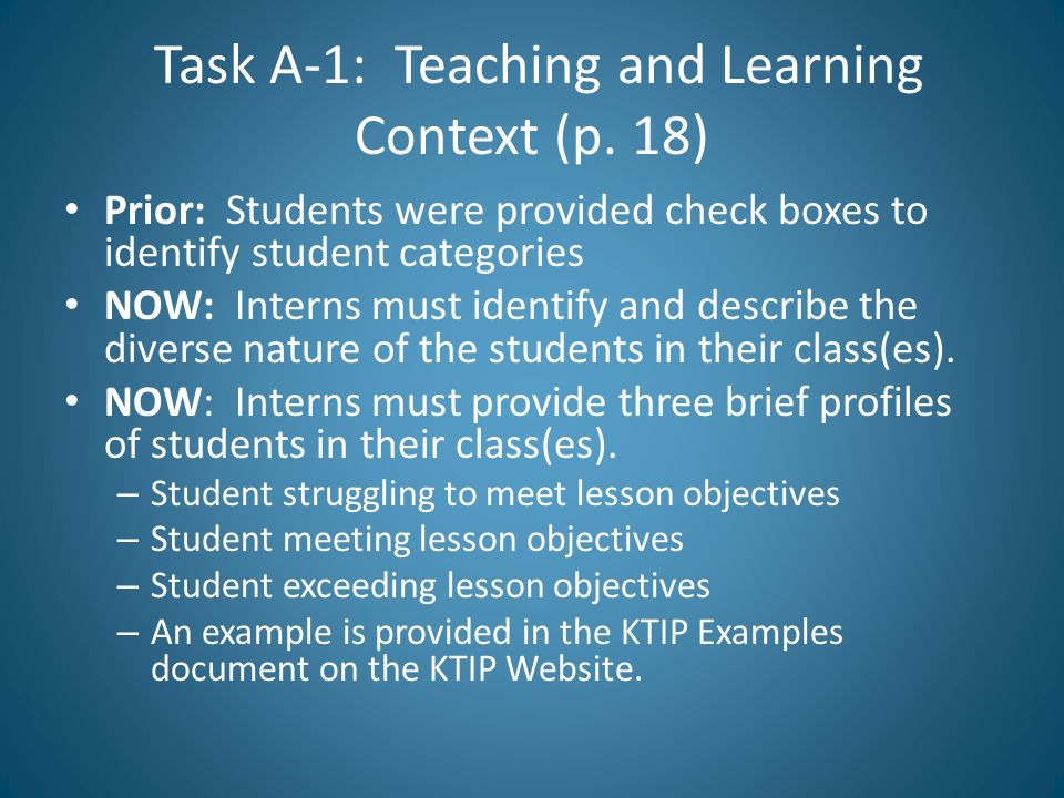 Task A-1: Teaching and Learning Context (p. 18)