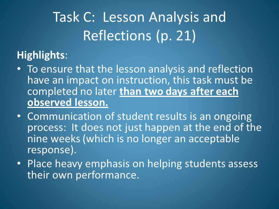 Task C: Lesson Analysis and Reflections (p. 21)