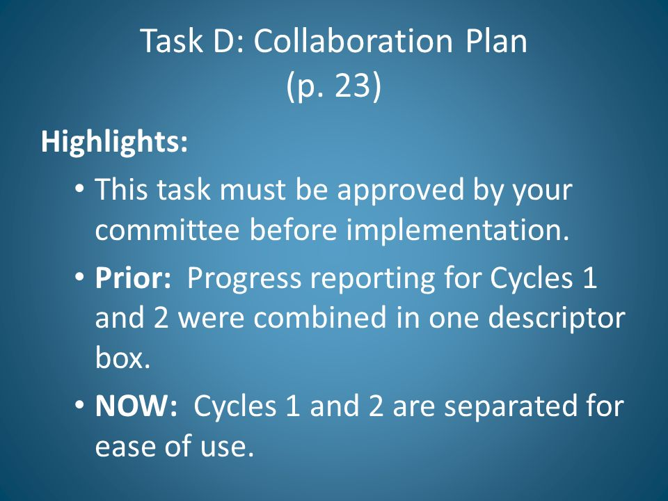 Task D: Collaboration Plan (p. 23)