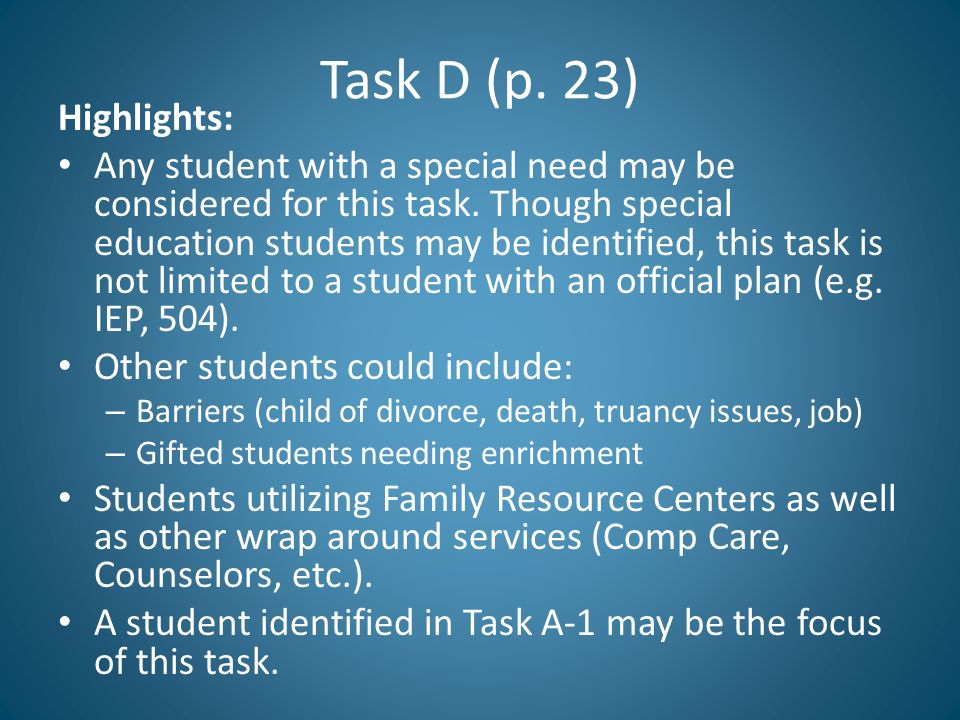 Task D (p. 23) Highlights:
