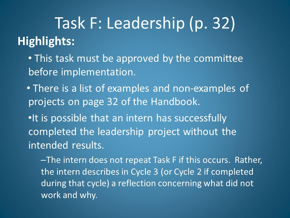 Task F: Leadership (p. 32) Highlights: