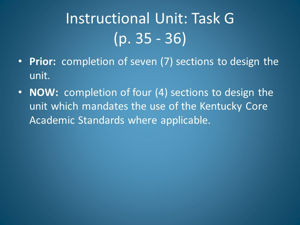 Instructional Unit: Task G (p. 35 - 36)