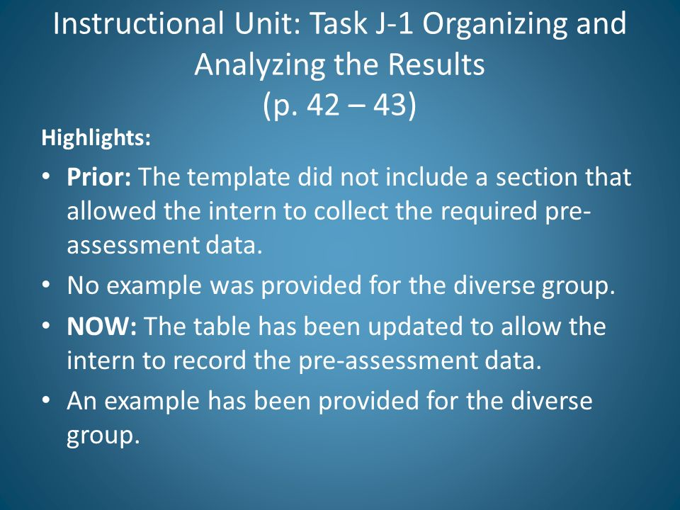Instructional Unit: Task J-1 Organizing and Analyzing the Results (p