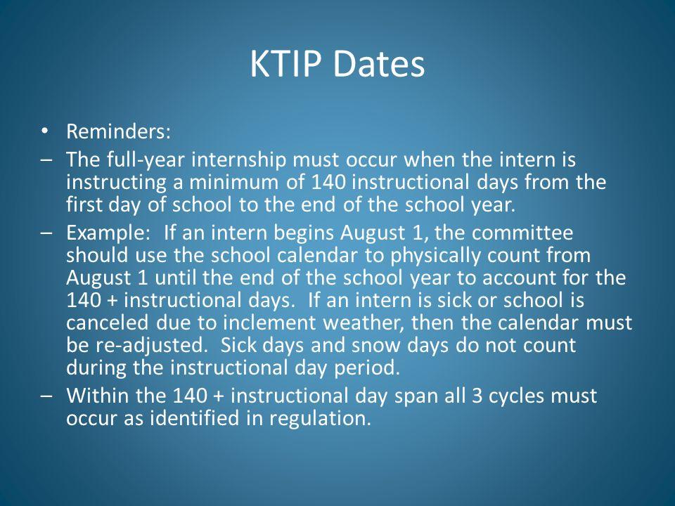 KTIP Dates Reminders: