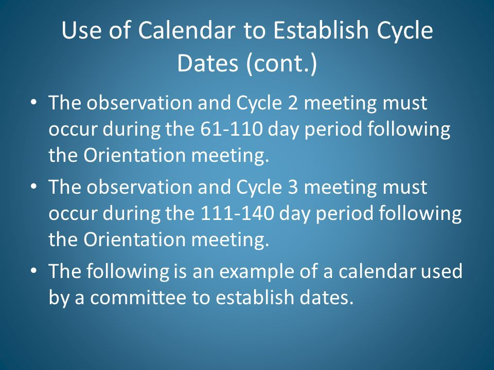 Use of Calendar to Establish Cycle Dates (cont.)