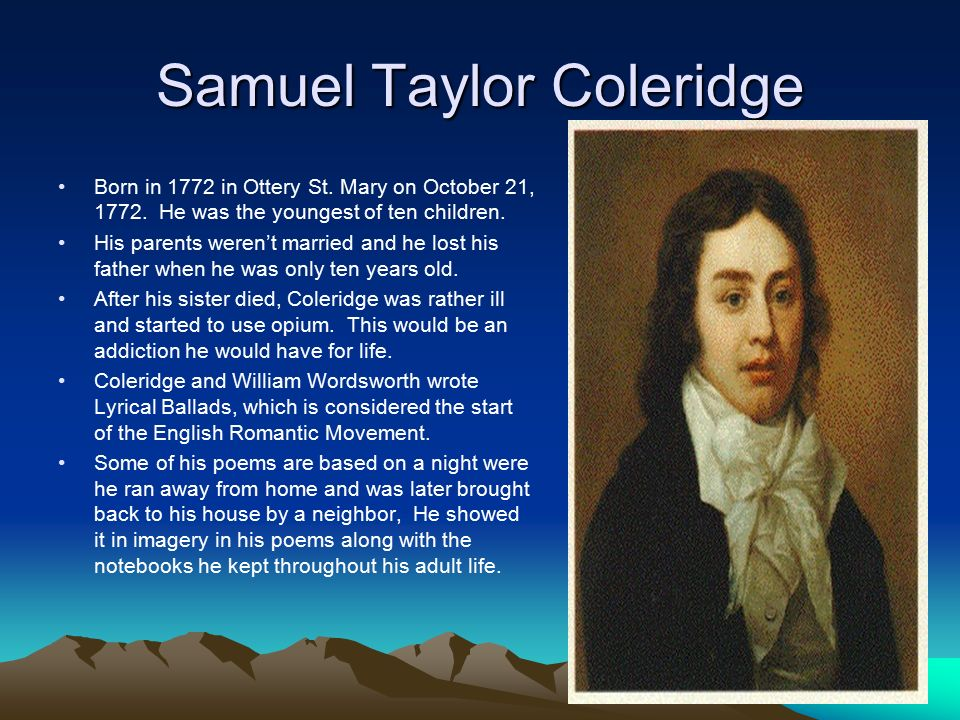 samuel taylor coleridge essay Essay writing guide samuel taylor coleridge samuel taylor coleridge presented his view on the personality of the most complex character in othello and.