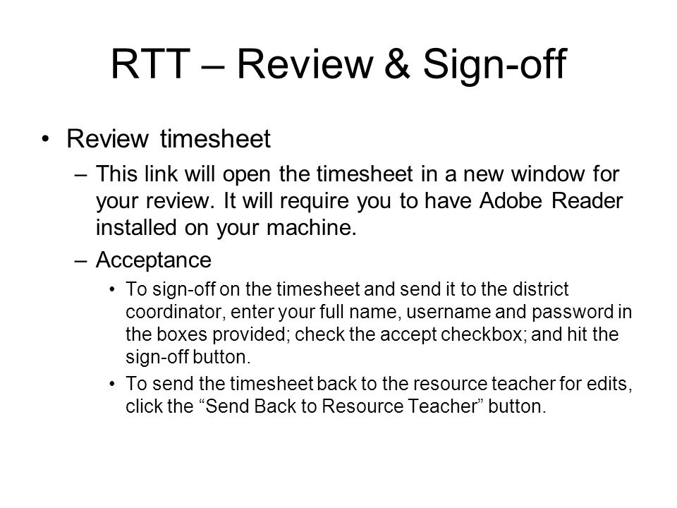 RTT – Review & Sign-off Review timesheet