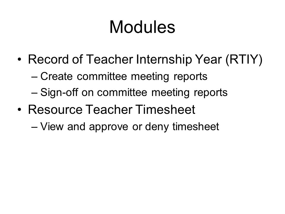Modules Record of Teacher Internship Year (RTIY)