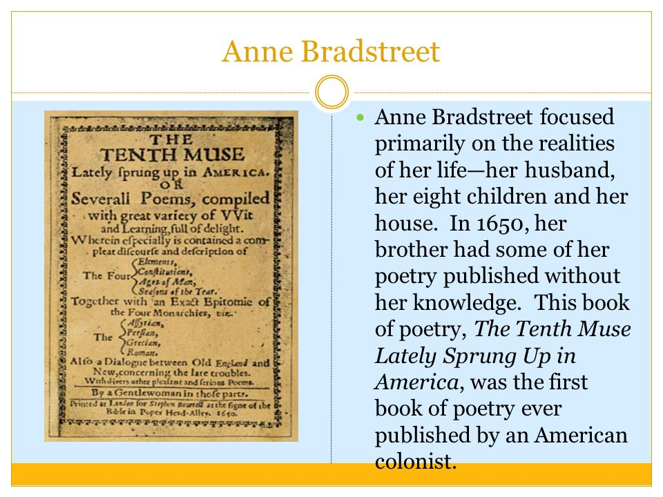 """an analysis of anne bradstreets poem upon the burning of our house Anne bradstreet - anne bradstreet the poem """" upon the burning of our house, july 10th burning of our house by anne bradstreet analysis of katherine anne."""