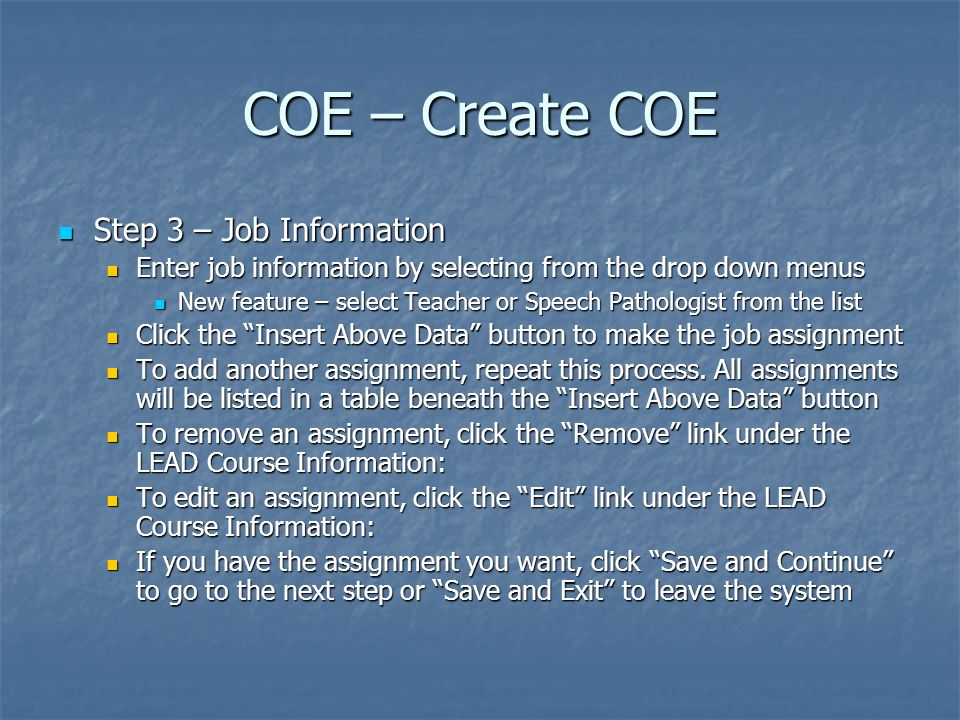 COE – Create COE Step 3 – Job Information