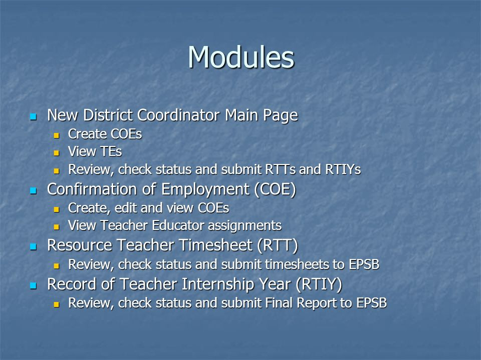 Modules New District Coordinator Main Page