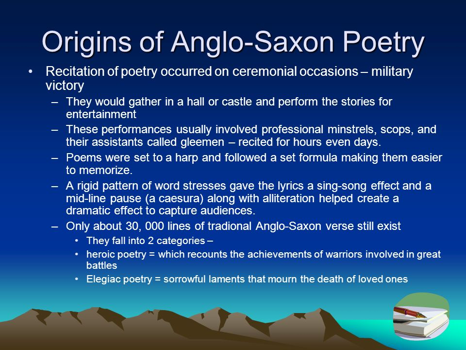 anglo saxon poetry For high ability year 7 or low ability year 8 a lesson on alliteration using fights in beowulf great for tough classes you will need the clip from terrible.