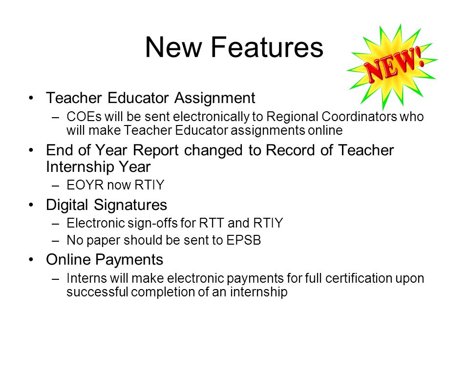 New Features Teacher Educator Assignment