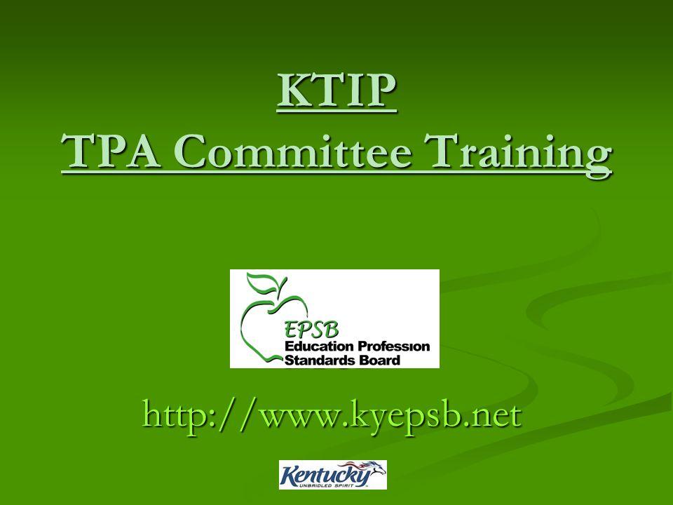 KTIP TPA Committee Training