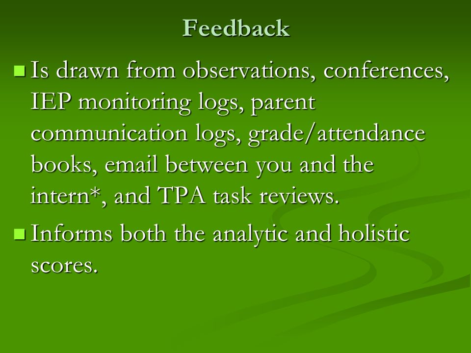 Informs both the analytic and holistic scores.