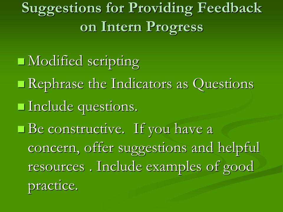Suggestions for Providing Feedback on Intern Progress