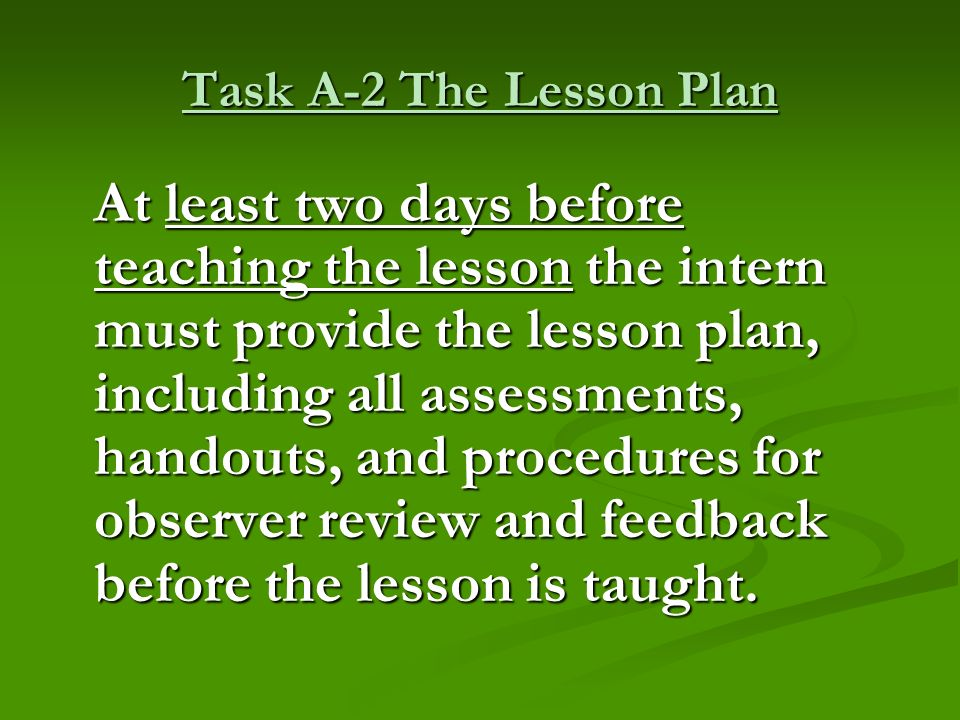 Task A-2 The Lesson Plan