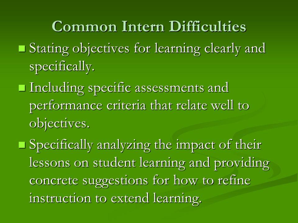 Common Intern Difficulties