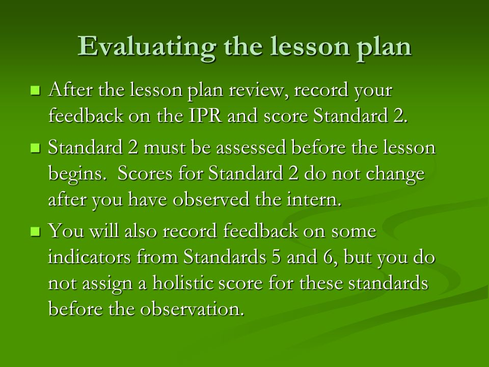 Evaluating the lesson plan