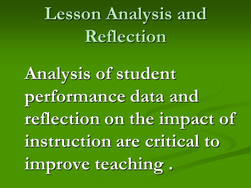 Lesson Analysis and Reflection