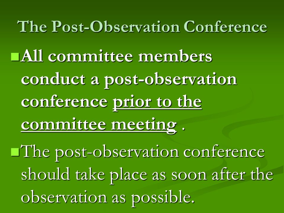 The Post-Observation Conference