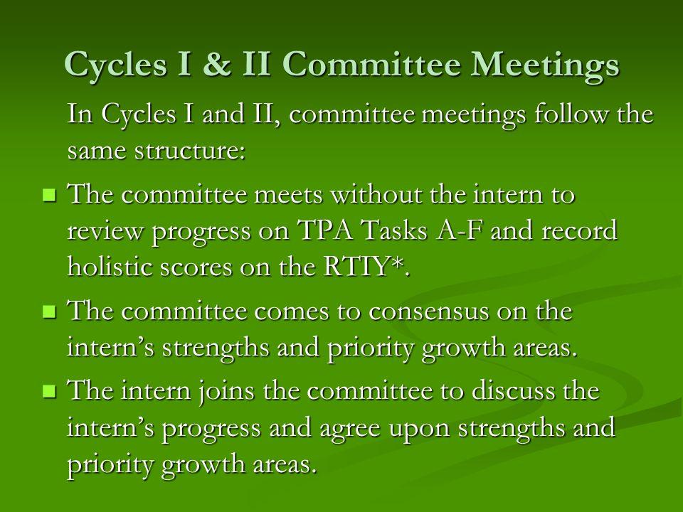 Cycles I & II Committee Meetings