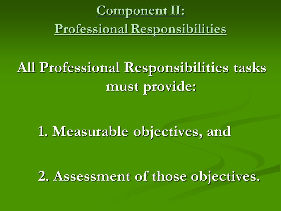 Component II: Professional Responsibilities