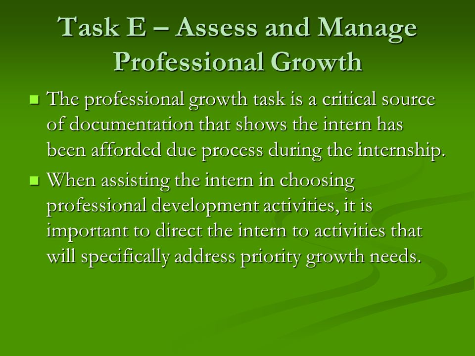 Task E – Assess and Manage Professional Growth