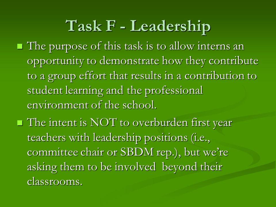Task F - Leadership