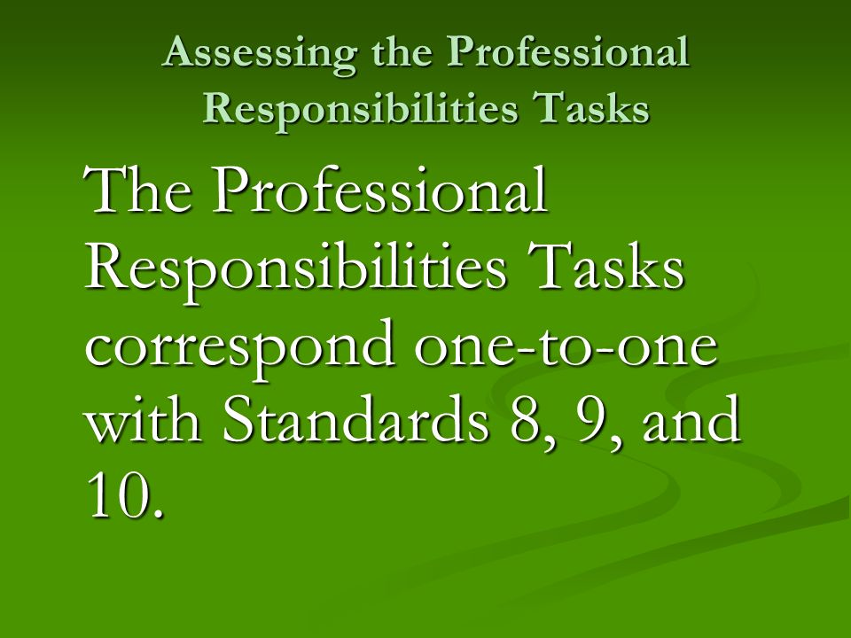 Assessing the Professional Responsibilities Tasks