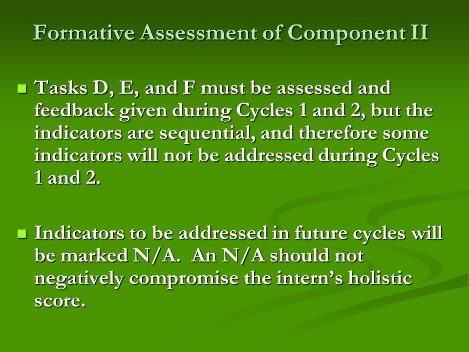 Formative Assessment of Component II